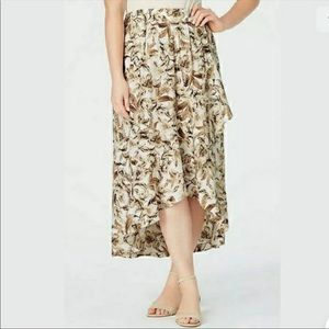 J JILL RUFFLED HI LOW HEM-BEIGE/CREAM FLORAL SKIRT